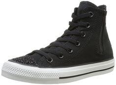 CONVERSE Women's Chuck Taylor Side Zip High Top Sneaker (Black Sparkle 5.0 M)