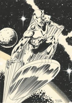 Silver Surfer by Keith Pollard and Derek Fisher Rare Comic Books, Comic Book Heroes, Comic Books Art, Comic Art, Marvel Comic Universe, Marvel Comics Art, Silver Surfer Comic, Top Superheroes, Comics Vintage