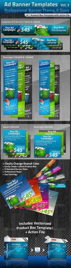 Ad Banner Template Collection Vol. 2 for Web Hosting Design