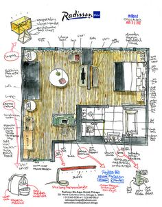 Radisson Blu Aqua Hotel: Hotel room layout sketched by measuring on location Floor Plan Sketch, Hotel Floor Plan, Interior Design Presentation, Hotel Room Design, Hotel Interiors, Room Planning, Cabin Design, Hotel Suites, Architecture Plan