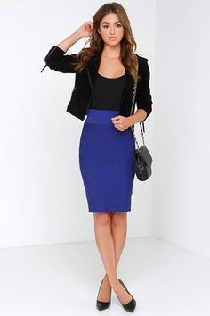 Ideas Skirt Blue Outfit Royal For 2020 Blue Skirt Outfits, Pencil Skirt Outfits, Royal Blue Skirts, Royal Blue Blouse, Bandage Skirt Outfit, Midi Skirt, Blue Pencil Skirts, High Waisted Pencil Skirt, Classy Outfits