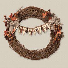 """Thankful""  #DIY wreath idea from #CTMH."