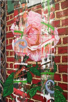 """""""Wallflower"""" - (3) 12"""" x 36"""" panels - oil, spray paint & house paint on canvas. N/A.  by Nicholas Tindall 2015"""