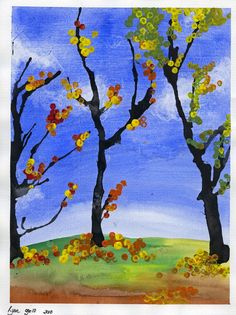 that artist woman: Fall Trees Version 2 - watercolor sky and ground, let dry. Paint trunk, blow limbs with straw, dab leaves with Q-tips dipped in paint