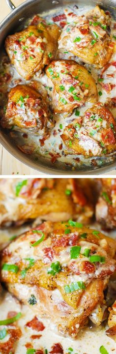 Pan-fried chicken thighs in a creamy bacon sauce with a touch of lemon! Quick and easy recipe for skin-on, bone-in chicken thighs.