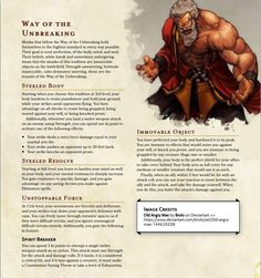 The Way of the Unbreaking: Become a stalwart protector with your martial arts prowess! : DnDHomebrew