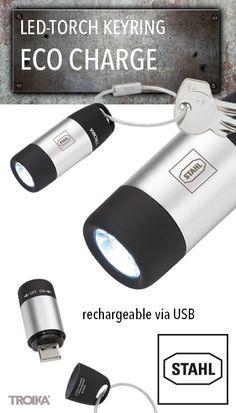 TROIKA ECO CHARGE - STAHL engraving. LED-torch and keyring, white light, rechargeable via USB *** LED-Taschenlampe und Schlüsselanhänger, weißes Licht, aufladbar über USB