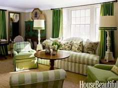 Sea-grass green living room. Design: Frances Schultz. Photo: Trevor Tondro. housebeautiful.com