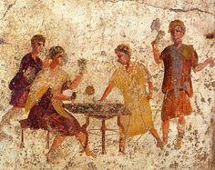 Dice players. Roman fresco from the Osteria della Via di Mercurio (VI 10,1.19, room b) in Pompeii.
