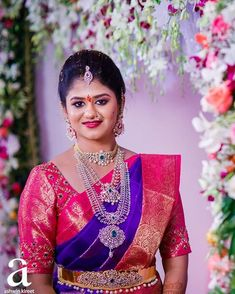 Hyderabad makeup artist gave the brides defined and amazing bridal makeovers with bold pout… Wedding Saree Blouse Designs, Pattu Saree Blouse Designs, Wedding Silk Saree, Vaddanam Designs, Bridal Makeover, Dress Neck Designs, Bride Hairstyles, Bridal Style, Varanasi