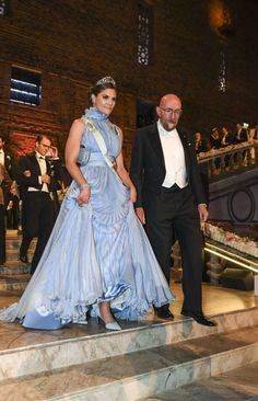 10 December 2017 - Crown Princess Victoria attends the banquet of the Nobel Prize Awards at Stockholm  City Hall - dress by Jennifer Blom