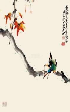 (Taiwan) by Zhao Shao'ang ink and color on paper. Japanese Watercolor, Japanese Painting, Watercolor Bird, Chinese Painting, Chinese Art, Watercolor Paintings, Chinese Brush, Oriental, Japanese Drawings