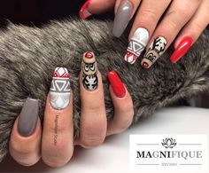 Ongles de Noël Noël Modèles de Noël Weihnachtsnägel … – All About Hairstyles Nail Art Noel, Xmas Nails, New Year's Nails, Christmas Nail Art, Halloween Nails, Love Nails, Pretty Nails, Hair And Nails, Gel Nails