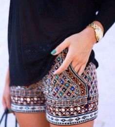 Zara Stones Embroidered Shorts; the nail polish