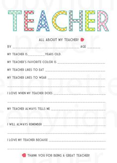 All About My Teacher Teacher Appreciation / by PaperEtiquette