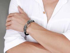 Leather Tibetan Silver Men Bracelet Titanium Fashion Vintage Jewelry Accessories China Dragon Bracelet Men Jewelry