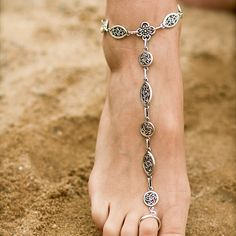Sexy Barefoot Sandal Foot Jewelry by AmberTortoise. $48.00, via Etsy.