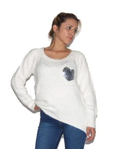 Sweater Blanco Corazon (Made With) Pullover, Sweaters, Tops, Women, Fashion, White Sweaters, Wraps, Moda, Fashion Styles