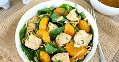 Asian Mandarin Orange Chicken Spinach Salad ~ New twist on the classic salad with noodles and chicken all tossed in Asian-inspired dressing Spinach Salad With Chicken, Spinach Strawberry Salad, Spinach Stuffed Chicken, Mandarin Orange Jello Salad, Orange Jello Salads, Classic Salad, Taco Salad Recipes, Chopped Salad, Orange Chicken
