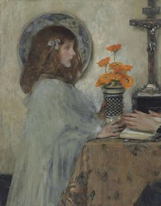 SHANNON, Sir James Jebusa American (1862-1923)_An Offering (Kitty in Profile with a Vase of Ranunculus)-1897