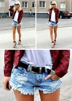 Red leather jacket - casual looks Cool Outfits, Summer Outfits, Textiles, Makati, Swagg, Passion For Fashion, Leather Jacket, Red Leather, Moto Jacket
