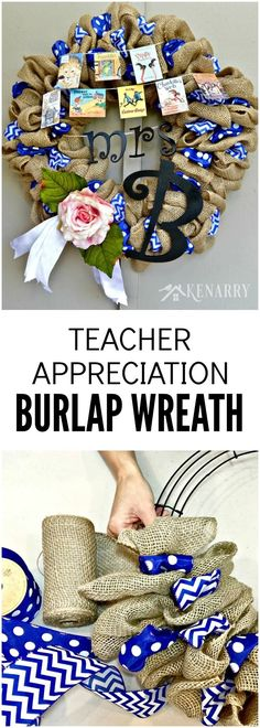 A Teacher Appreciation Burlap Wreath is an easy craft idea to make for thank hard working educators for back to school, end of school or Christmas. This decor is fun to make and perfect for teachers, librarians and book lovers. Classroom Wreath, Teacher Wreaths, School Wreaths, Classroom Decor, Classroom Design, Teacher Appreciation Gifts, Teacher Gifts, Teacher Hacks, Christmas Presents For Teachers