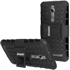 Amzer® Hybrid Warrior Case - Black/ Black for Asus Zenfone 2