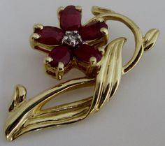 "Fine Estate 14K 14KT 585 Yellow Gold Ruby Diamond Flower Pendant 1 1/8"" TCW1.45 #ADL #Pendant"
