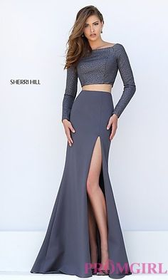 Sherri Hill Two Piece Long Sleeve Dress at PromGirl.com