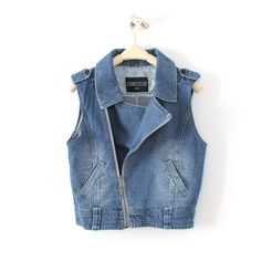 ladies denim jacket installed in spring and autumn Lady denim vest women stayed waistcoat vest