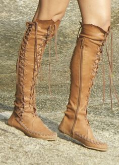 Amazing leather moccasin boots by Gypsy Dharma.