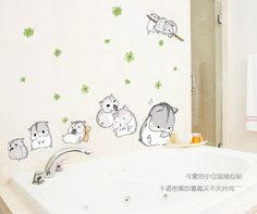 Cute little hamsters PVC can remove children room fun stickers to stick on the wall