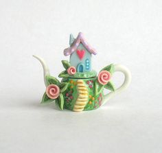 Miniature Sweetheart House on Hill Teapot OOAK by C. Rohal.