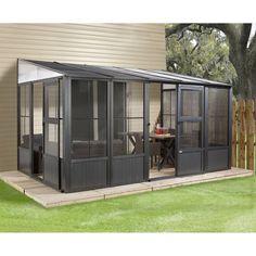 Sojag Charleston Gazebo 10 X 16 Wall-mounted Solarium Aluminum 2 Patio Pergola, Screened In Patio, Patio Roof, Backyard Patio, Pergola Kits, Pergola Ideas, Cheap Pergola, Small Patio, Patio Ideas