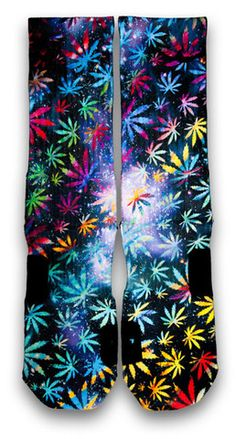 Celebrate 420 with this pair of multi-color custom elite socks. Featuring waves of vibrant colors leaves, paired with a starry galaxy background. Rock this anywhere with any kicks.