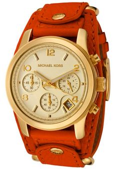 Michael Kors MK2157 Watches,Women's Chronograph Orange Leather, Women's Michael Kors Quartz Watches