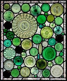 stained glass window art created from recycled bottles & glass housewares ~ beautiful