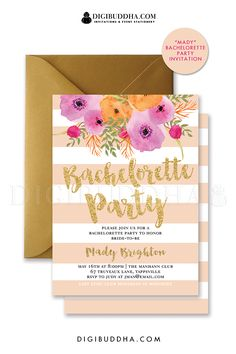 Peach stripes and gold glitter striped Bachelorette party invitations with chic watercolor flowers and gold glitter brush script lettering. Choose from ready made printed cards or printable bachelorette party invitations. Black envelopes and envelope liners available also, at digibuddha.com.