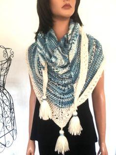Hand Knits 2 Love Shawl Triangle Tassels Blues Ombré Designer Fashion Gift Hip #HandKnits2Love #ShawlWrap