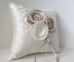fabric flower wedding pillow