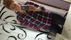Comfy fall flannel & messy bun