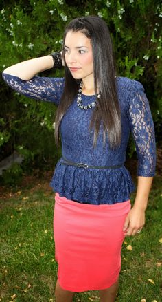 Blue Peplum lace with coral pencil skirt. Modest Sunday outfit