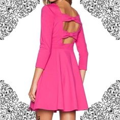 More then 50% off ❗️Kate Spade  Brand new with tags authentic Kate Spade sweetheart pink flirty back bow dress will turn heads!                                                                      -Boat neck, three quarter sleeves, two slit side pockets -Concealed side zip closure, cutout bow back, flared skirt -Viscose/polyamide/Elastane -Dry clean kate spade Dresses Mini