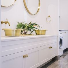 The subtle sheen of our brushed brass Orlo basins. Understated glamour! #brass #basin #handmade www.williamholland.com  Interiordesign and build by #robertpettybuilders and @innatehome