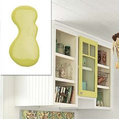 Benjamin Moore's Pear Green frames a door, adding character to plain open shelves.     About About $20 per quart; Benjamin Moore for paint stores