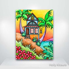 Pineapple+Beach+Cottage+House+Fine+Art+Giclée+by+HollyvisionArt,+$17.00