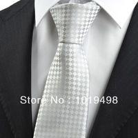 free shipping high quality tie 5pcs  New geometric tie Checked Ash Gray JACQUARD WOVEN Microfiber Men's Tie Necktie, Width 8.5cm