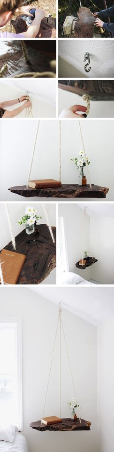 Hanging Nightstand  colgante / http://themerrythought.com/