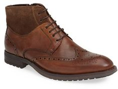 $150, Brown Leather Brogue Boots: Vince Camuto Dario Wingtip Boot. Sold by Nordstrom. Click for more info: https://lookastic.com/men/shop_items/151020/redirect