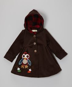 Precious woodland creatures accompany the little one on treks from the backyard to Grandma's house and beyond with this coat. Its gently gathered waist and swingy shape keep little adventurers looking stylish, while snuggly corduroy and a flannel-lined hood add toasty warmth.65% cotton / 35% polyesterMachine wash; hang dryImported